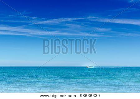 Sapphire Blue Big Blue Ocean Sky Speedboat Horizontal