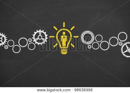 Human Resource Idea Conceptual Drawing on Blackboard