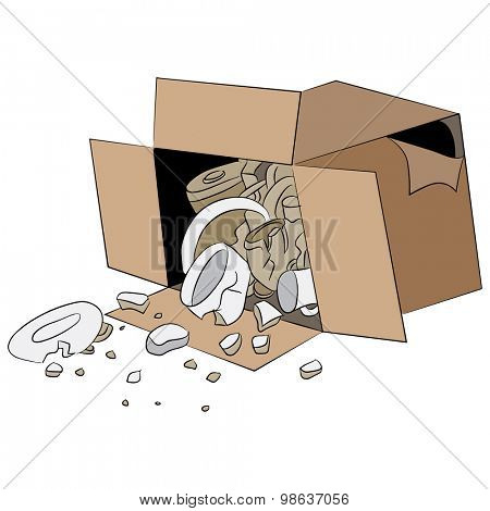 An image of a cartoon box of broken merchandise.