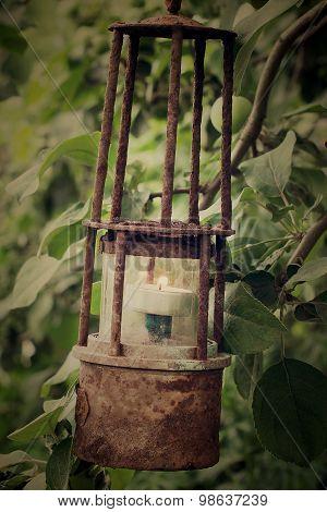 Rusty Old Lantern In The Garden