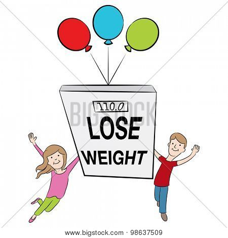An image of cartoon kids supporting weight loss and being healthy.
