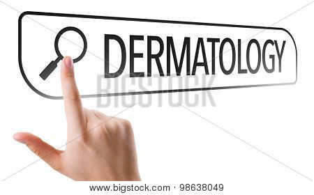 Dermatology written in search bar on virtual screen