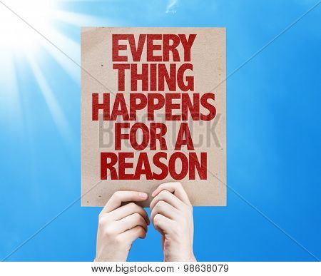 Every Thing Happens For a Reason card with sky background