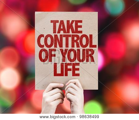 Take Control of Your Life card with bokeh background
