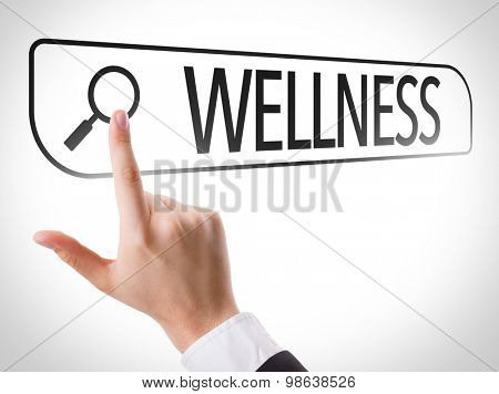 Wellness written in search bar on virtual screen