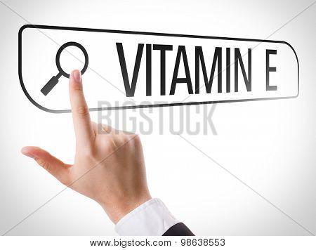 Vitamin E written in search bar on virtual screen