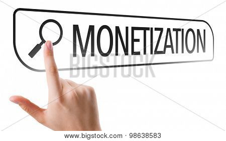 Monetization written in search bar on virtual screen