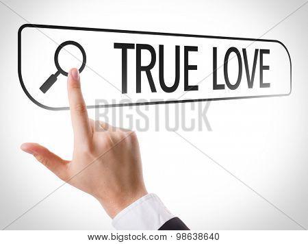 True Love written in search bar on virtual screen