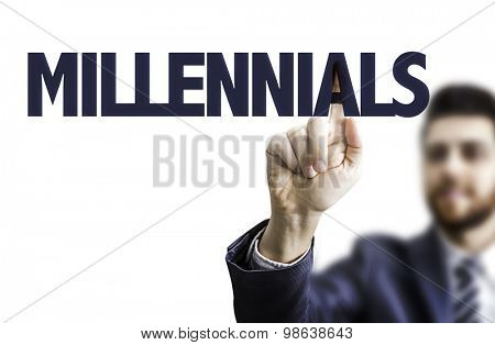 Business man pointing the text: Millennials