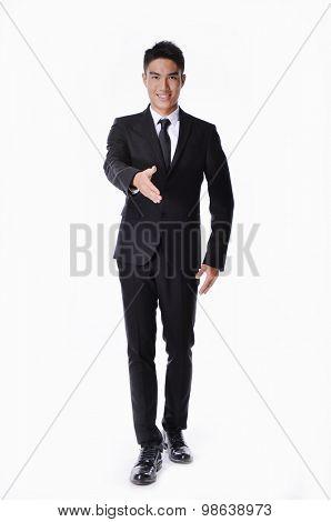 Full body portrait of businessman handshake gesturing,