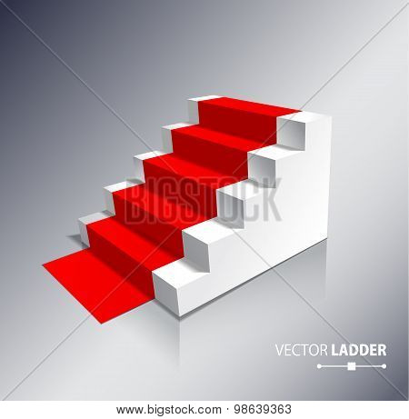 Stairs Isolated On White Background With Red Carpet. Steps.