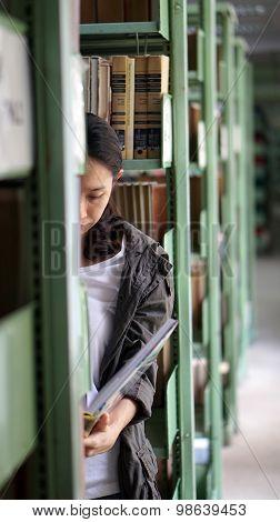 Asian Girl Reading Book