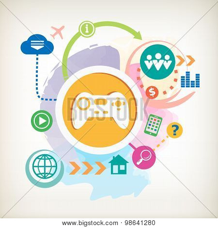 Joystick Sign Icon And Cloud On Abstract Colorful Watercolor Background With Different Icon And Elem