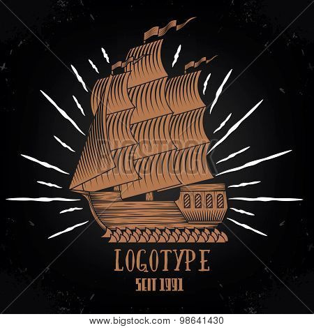 Vintage ship logotype  illustration