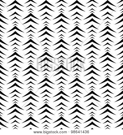 Black And White Geometric Seamless Pattern With Chevron, Abstract Background.