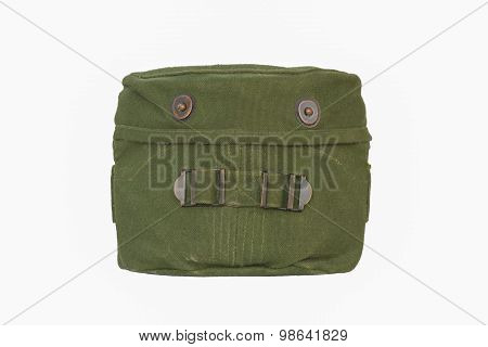 Military mess kit with Used Green Cover isolated on a white background