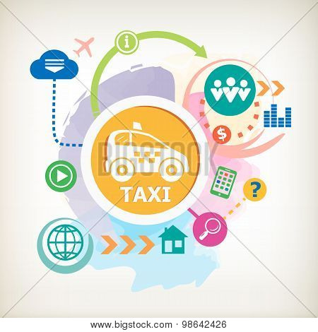 Taxi Car Sign Icon  And Cloud On Abstract Colorful Watercolor Background With Different Icon And Ele