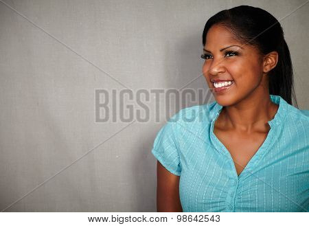 Happy Woman Smiling Against Grey Background