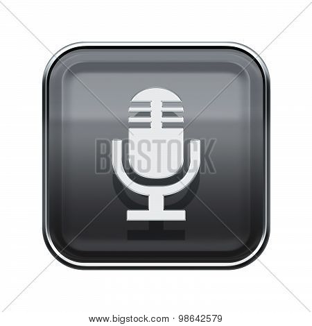Microphone Icon Glossy Grey, Isolated On White Background