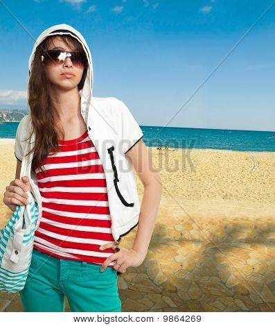 Stylish Teenager On A Shore
