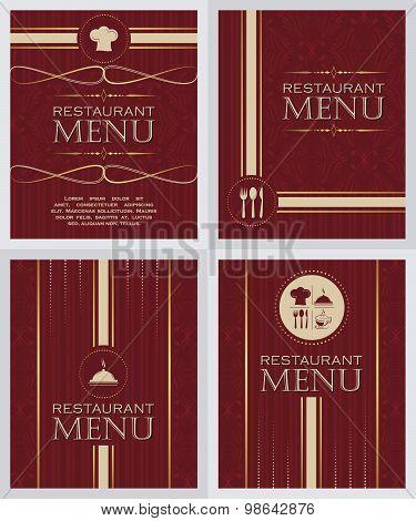Set of restaurant menu design cover template in retro style