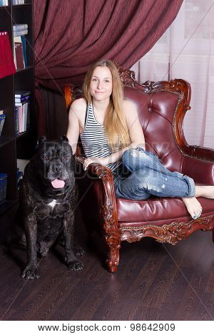 Girl Sits In A Chair Home Library Next To Dog Cane Corso