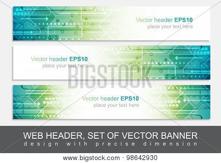 Website header or banner isolated, vector abstract design template with technological pattern