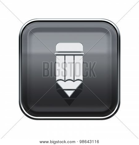 Pencil Icon Glossy Grey, Isolated On White Background