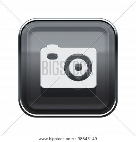 Camera Icon Glossy Grey, Isolated On White Background