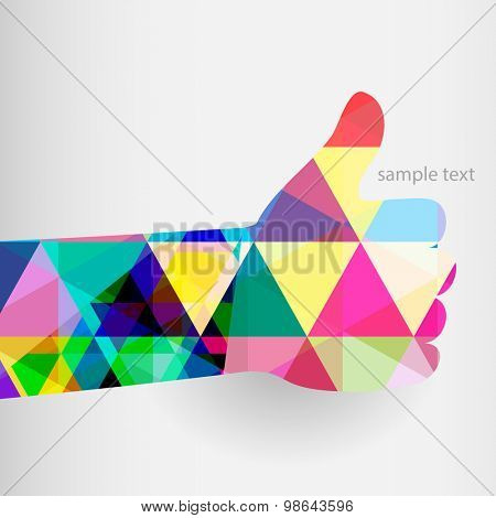 Colorful thumbs Up symbol. Abstract background.  Vector illustration.