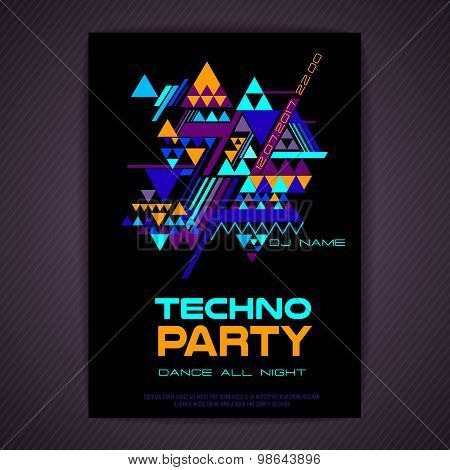 Disco Poster. Abstract Triangle Background