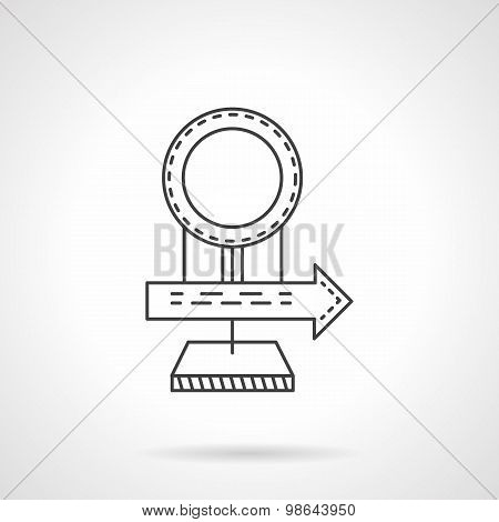Road sign line vector icon