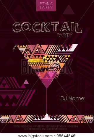 Disco Cocktail Poster With Triangle Background