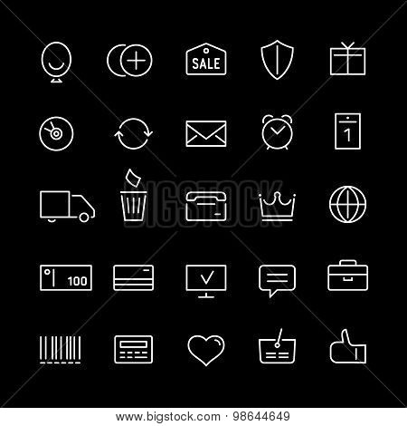 Internet shop icons set in linear style. White color.