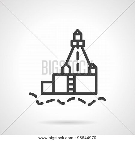 Lighthouse black line vector icon