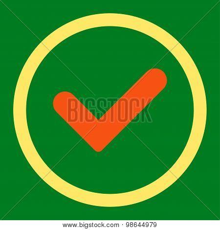 Yes flat orange and yellow colors rounded vector icon