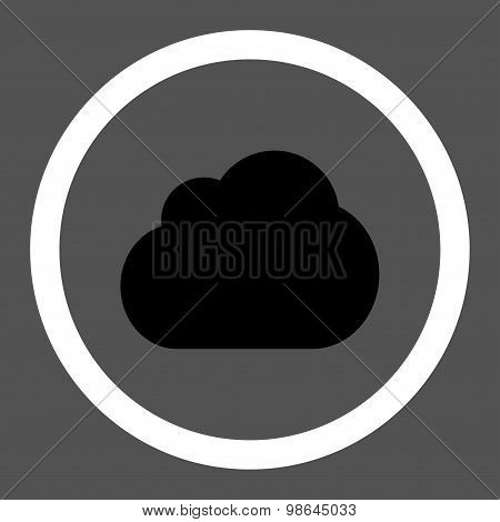 Cloud flat black and white colors rounded vector icon