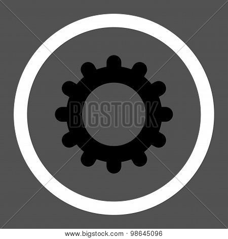 Gear flat black and white colors rounded vector icon