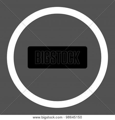 Minus flat black and white colors rounded vector icon