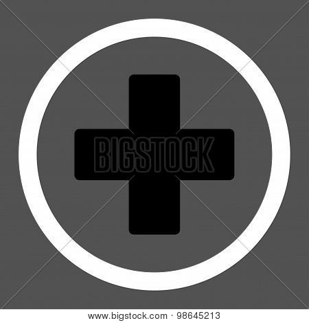 Plus flat black and white colors rounded vector icon