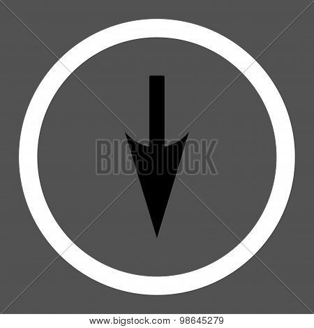 Sharp Down Arrow flat black and white colors rounded vector icon