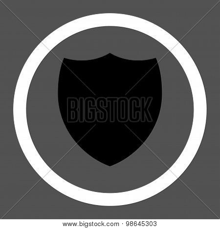Shield flat black and white colors rounded vector icon