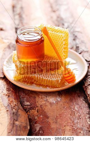 honey in the jar with honeycomb - sweet food