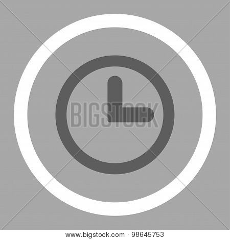 Clock flat dark gray and white colors rounded vector icon