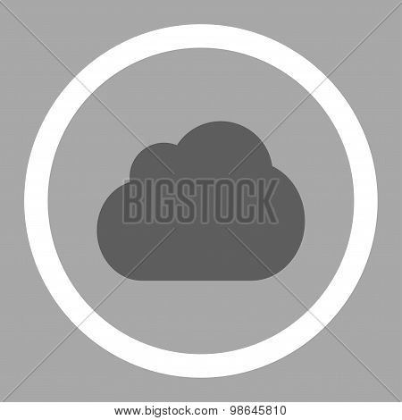 Cloud flat dark gray and white colors rounded vector icon