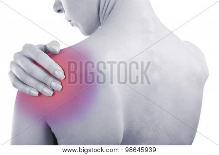 Young girl with shoulder pain close up