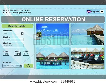 Screen interface. Booking hotels