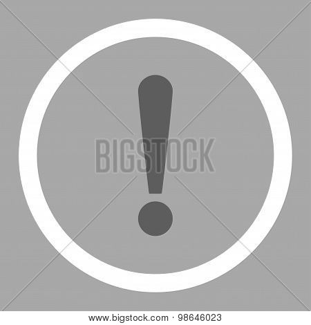 Exclamation Sign flat dark gray and white colors rounded vector icon
