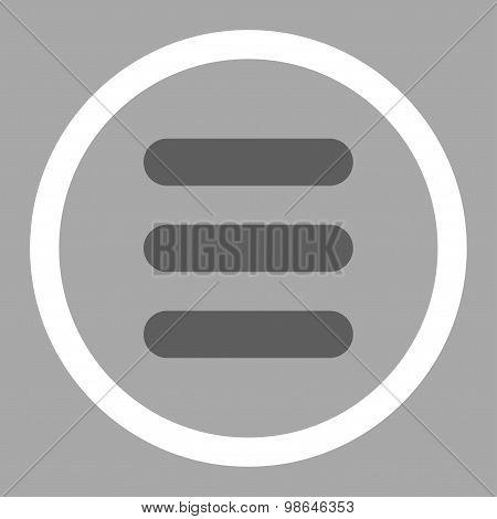 Stack flat dark gray and white colors rounded vector icon