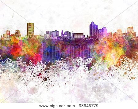 New Haven Skyline In Watercolor Background